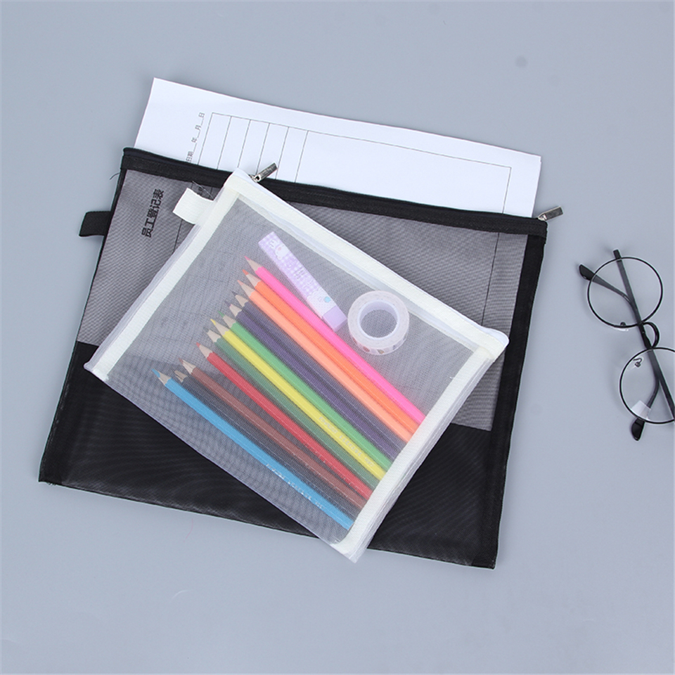 A4 A5 Document Bag Pvc Mesh File Folder Bag With Zipper Organizer High QualityTransparent Cloth Stationery Portable