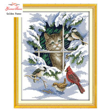 Emas Panno, 14CT 11CT DMC hand made cross stitch kit, salju pemandangan musim dingin Kucing dan burung Menjahit bordir Cross Stitch 923(China)