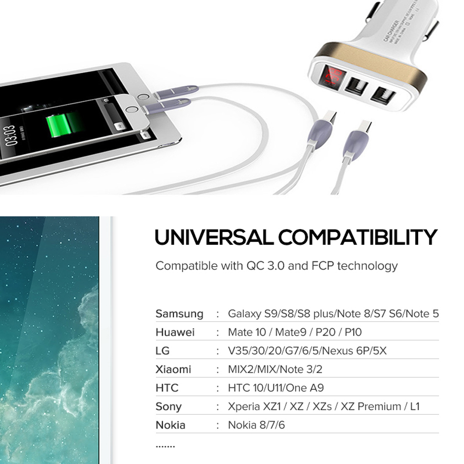 Car Charger Digital Display 2.1A Dual Port USB Charger Adapter for iPhone Samsung Xiaomi Huawei P20 lite USB Phone Charging7