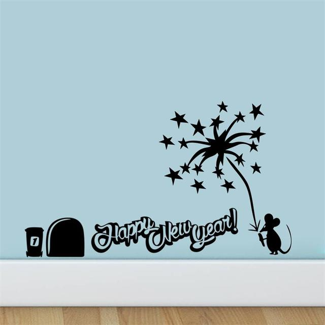 happy new year gift wall sticker mouse light fireworks wall decal christmas decoration quotes for kids - Christmas Decoration Quotes