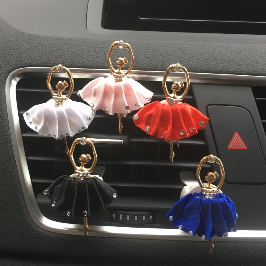 New Lady Car Perfume Rhinestone Metal Lovely Ballerina Styling Air Conditioner Outlet Perfume Clip Car Air Freshener dower me