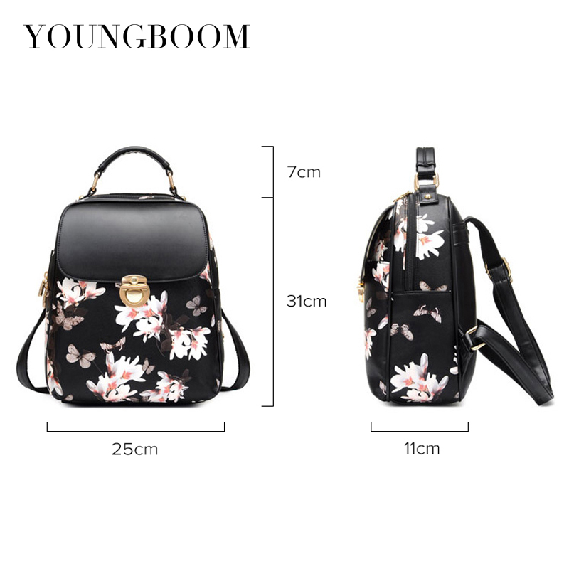 1b3ba3f84b2 Youngboom Floral Printing Backpack Simple Casual Flower Butterfly ...