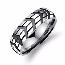 Unique design Tyre print Stainless Steel Rings For Cool Men Fashion Punk Black Male Finger Jewelry accessory Gift Size 7-11 fate love brand 316l stainless steel punk male men large big black red stone rings fashion jewelry size 7 8 9 10 11 gj623