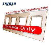 Livolo Luxury Golden Crystal Glass Switch Panel 293mm 80mm EU Standard Quadruple Glass Panel VL C7