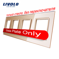Livolo Luxury Golden Crystal Glass Switch Panel 293mm 80mm EU Standard Quadruple Glass Panel VL C7