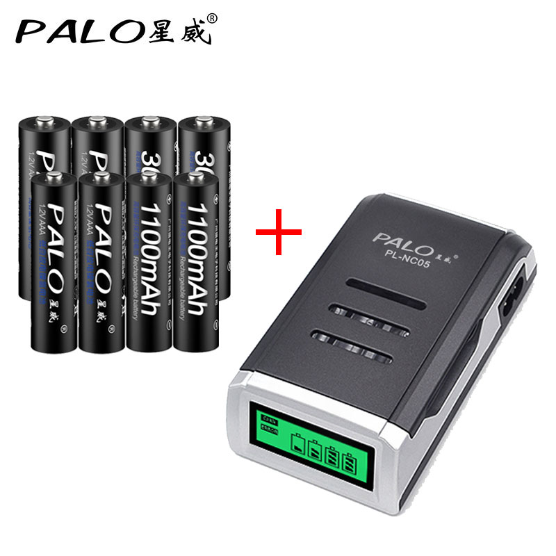 LCD display aa aaa battery charger with 4pcs aa 3000mah batteriese and 4pcs 1100mah nimh aaa