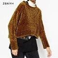 ZBAIYH Mulheres Blusas Assimétricas Hem Moda Veludo Pulôveres Estilo Curto Feminino Casual Sweater Inverno Quente Engrossar Topos de Culturas