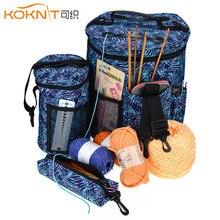 KOKNIT örgü çanta taşınabilir iplik Tote saklama çantası yün tığ Hooks örme DIY ev organizatör seyahat çantası