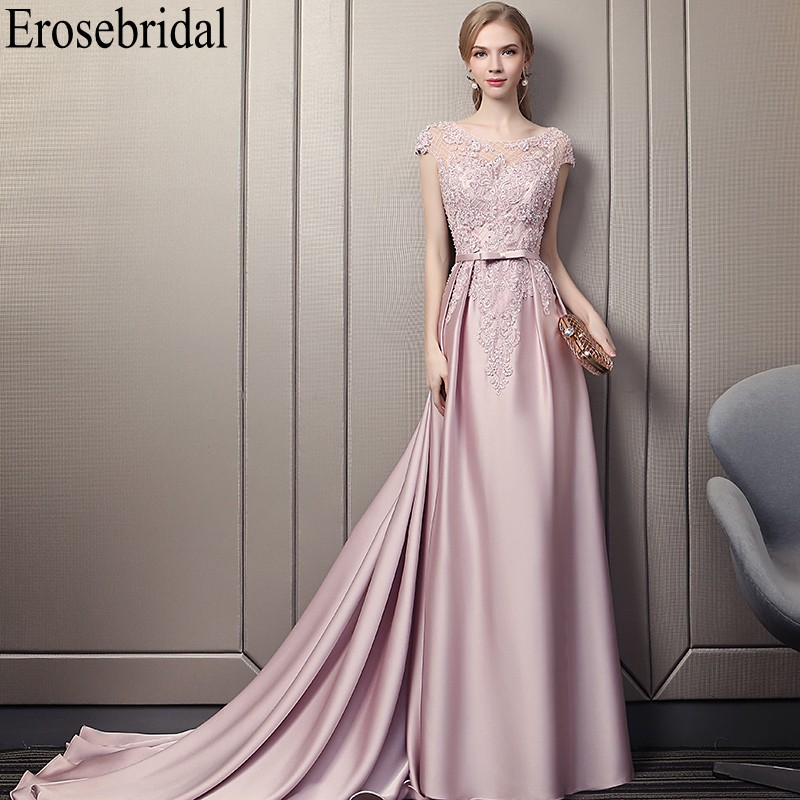 Erosebridal Pink Satin Evening Dress Long 2019 Formal Women Prom Party Wear With Small Train Lace Beaded Bodice With Betl