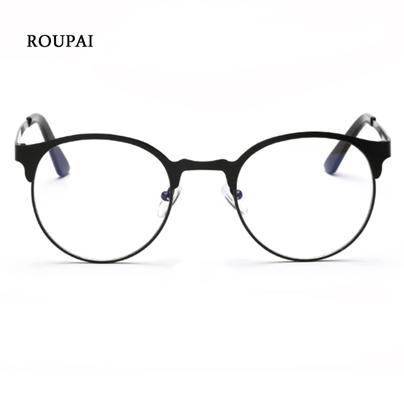ROUPAI Clear Eyewear Frames Unisex Retro Optical Glasses Women Round Metal Frame Eyeglasses Men Gaming Anti Blue Light Glasses