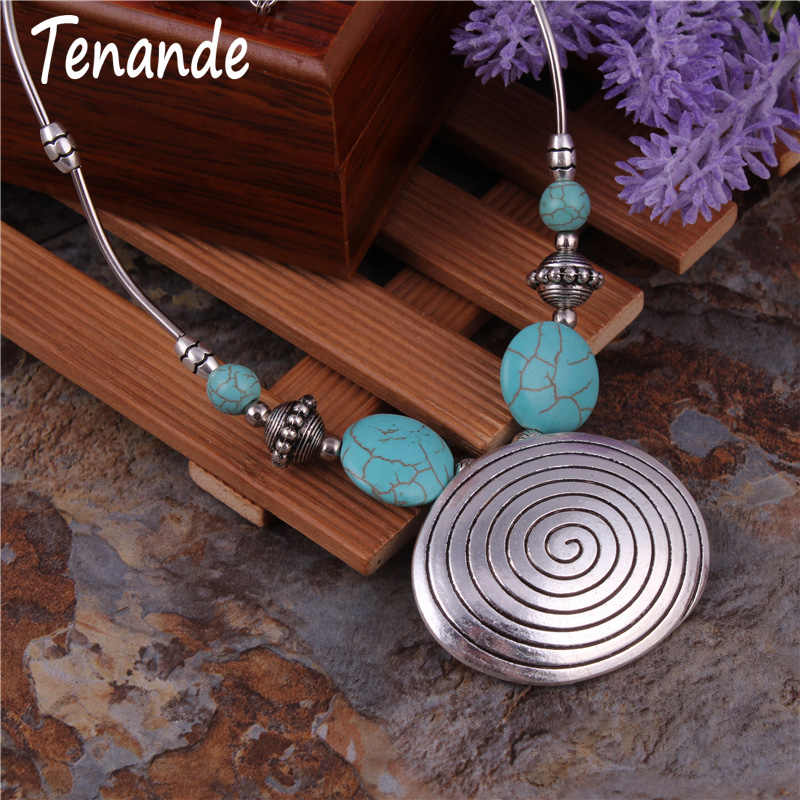 Tenande Bohemian Big Statement Natural Stone Beads Geometric Patterns Necklaces & Pendants for Women Jewelry Vintage
