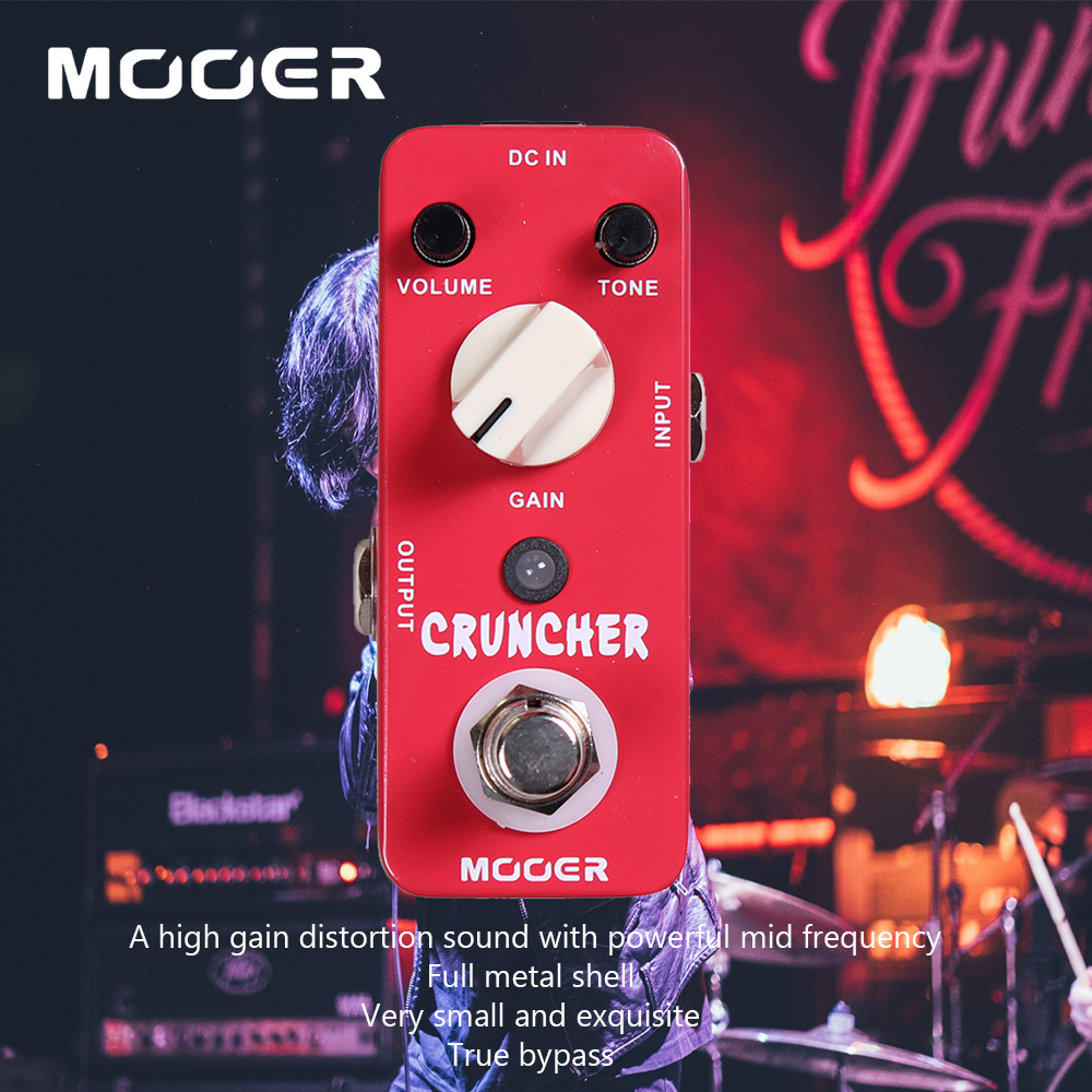 Mooer Full Metal Shell High Gain Distortion Sound Cruncher Electric Guitar Effect Pedal With Powerful Mid Frequency nux metal core distortion stomp boxes electric guitar bass dsp effect pedal 2 metal hardcore sound true bypass