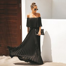 Long Off Shoulder Pleated Chiffon Dress Women 2019 Autumn Solid Maxi Dress Off The Shoulder Elegant Ruffle Party Dress Vestidos