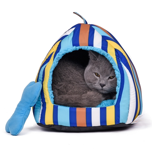 Domestic Delivery Multifunction Stripe Pet Cat Bed Small Dog House Soft Pet Cushion Puppy Mats Dog Kennel Chihuahua Yorkshire
