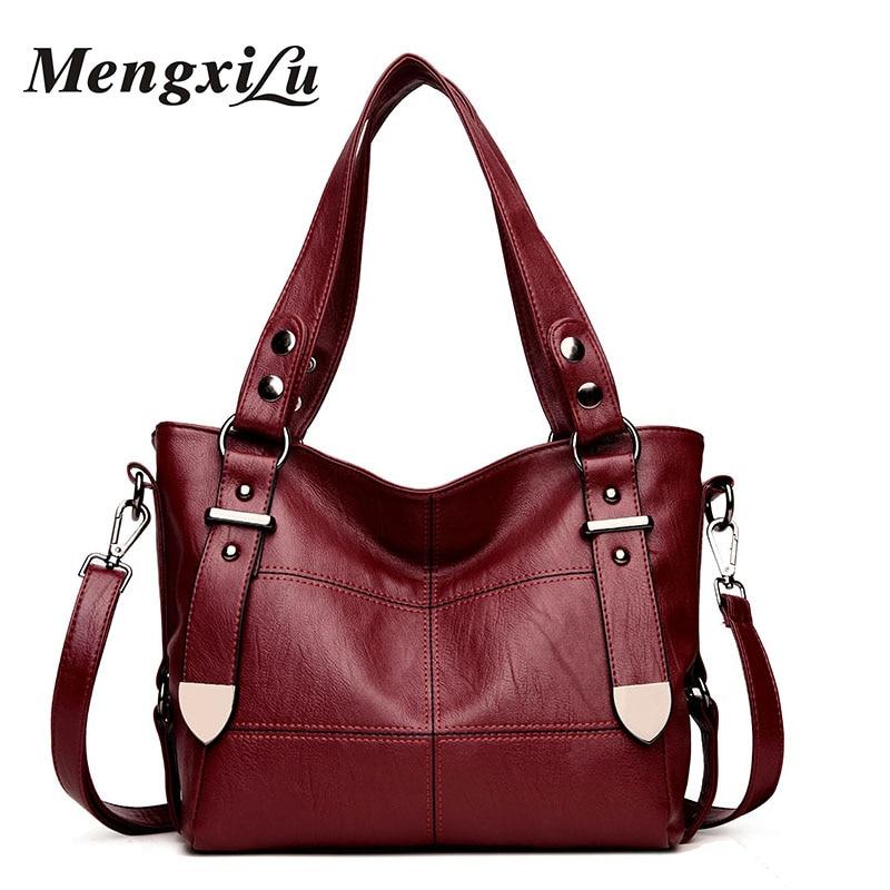 MENGXILU Brand Patchwork Women Bags Soft Women PU Leather Handbags Designer Women Shoulder Bags Large Capacity Casual Tote Bags