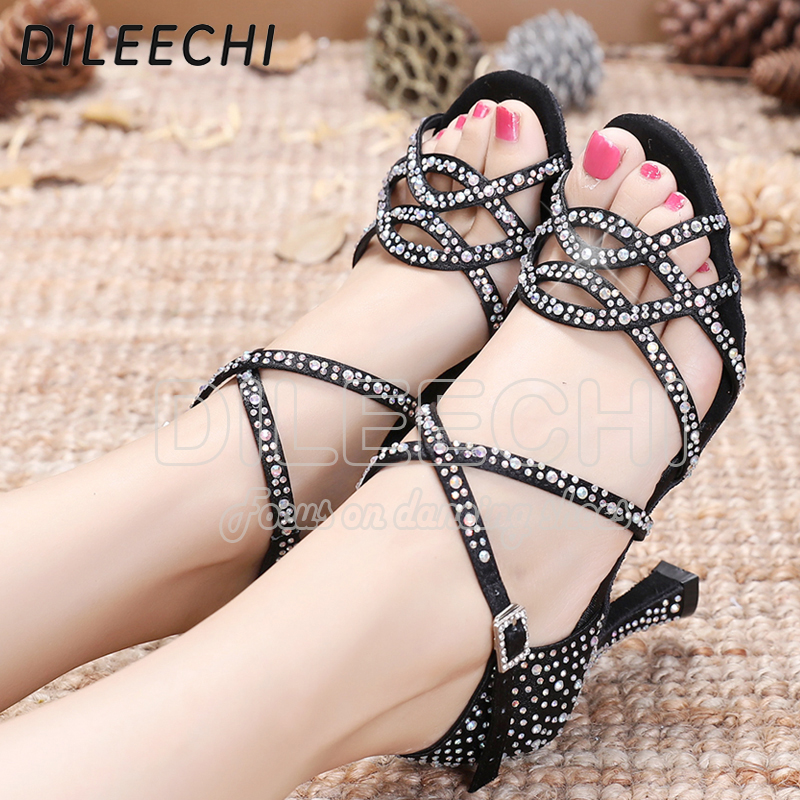 Image 3 - DILEECHI Latin dance shoes women NEW Bronze satin Shining Rhinestone Cuba high heel 9cm Salsa Beige Black Ballroom dancing shoes-in Dance shoes from Sports & Entertainment