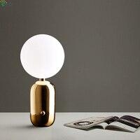 Современные Стекло мяч светодиодные настольные лампы блеск металла золота Спальня светодиодные настольные лампы Гостиная свет таблицы На