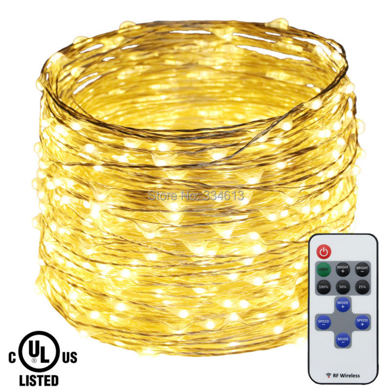 50M 164FT 500LED Silver Wire Warm White LED String Lights Holiday Outdoor Christmas Fairy Lights with Remote+ UL CE Adapter