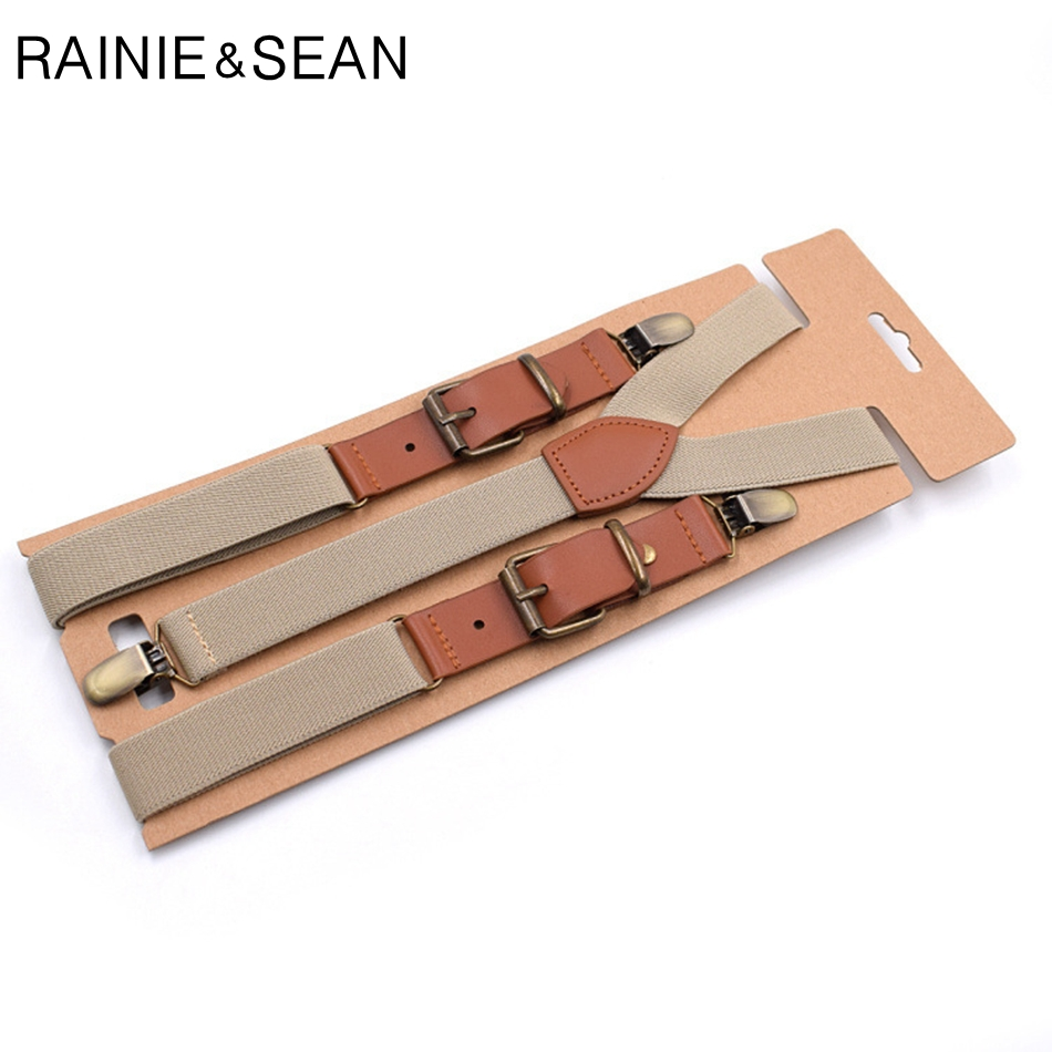 RAINIE SEAN Suspenders Men Women Solid Suspenders For Shirt Mens Braces For Trousers Y Back Leather Brand Suspender Belt Clips