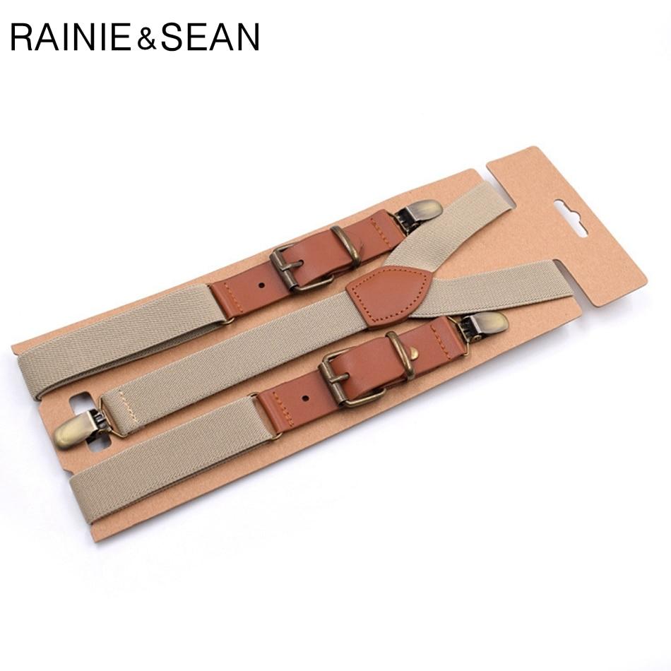 RAINIE SEAN Suspenders Men Women Solid Suspenders For Shirt Mens Braces For Trousers Y Back Leather Brand Suspender Belt Clips