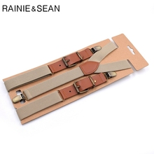 RAINIE SEAN Suspenders Men Women Solid For Shirt Mens Braces Trousers Y Back Leather Brand Suspender Belt Clips