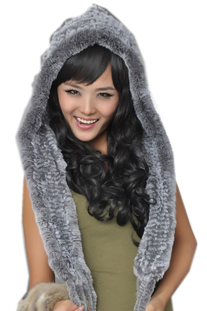 fur hats for women winter knitted thicken autumn  winter natural rex rabbit fur white red gray black ear protector scarf, H67