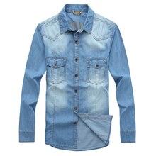 Age Season Thin Men to Heavy Fertilizer Increased, Long Sleeve Shirt Cowboy Code Loose Fat Cotton Denim Shirts