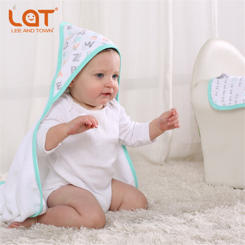 LAT Cotton Bath Hooded Towel and Face Towel Set Ultra soft 30x30inches Infant &Toddler Bath Towel Wrap Baby Shower Gift