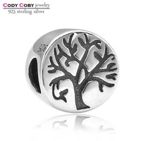 Real 925 Sterling Silver Family Tree Dangle Charm Beads Fit Pandora Bracelet For Women Authentic Luxury