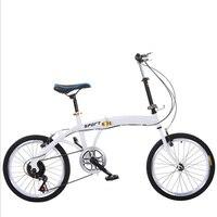 20-Polegada bicicleta dobrável com velocidade variável adulto bicicleta branca