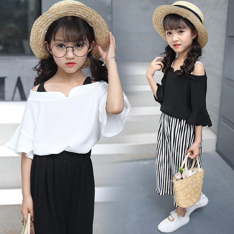 Girl Summer Wear Suit New Pattern Korean Summer Children's Garment Leisure Time Strapless Chiffon 2 Pieces Kids Clothing Sets 2017 new pattern small children s garment baby twinset summer motion leisure time digital vest shorts basketball suit