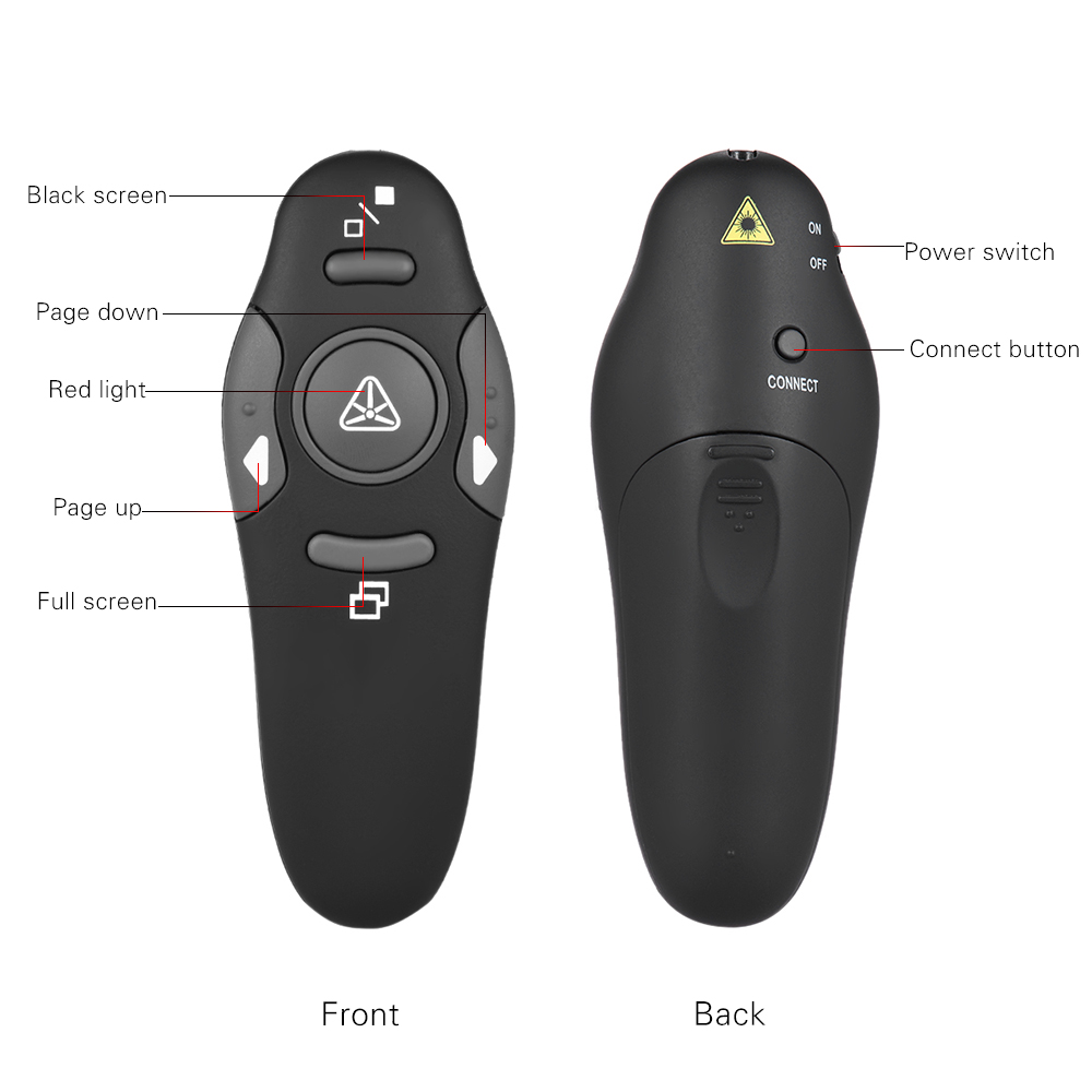 2.4G Wireless PPT Powerpoint Infrared Remote Control Presenter Clicker Flip Pen Pointer for School Office Lecture Teachers Lecturers Professors