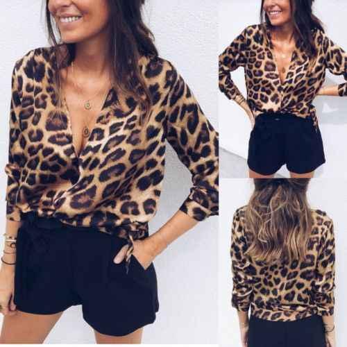 7dec78f14c2 Для женщин Boho Повседневное полосатый Leopard глубоким v-образным вырезом  с длинным рукавом Свободные женские