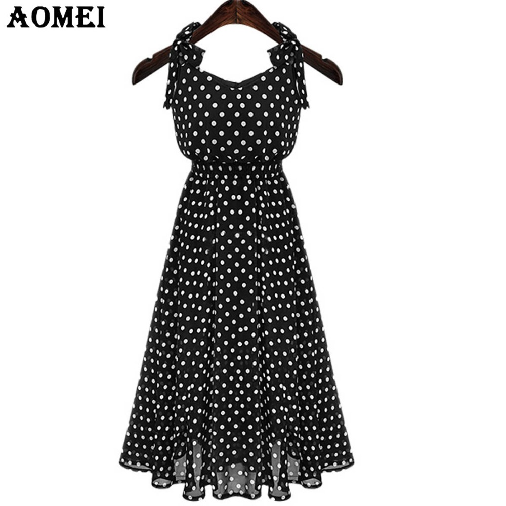 dfd07c6272 Woman Bohemian Maxi Dresses Polka Dot Black Sundress Lady Fashion 2019 Sleeveless  Summer Long Vestidos Beachwear