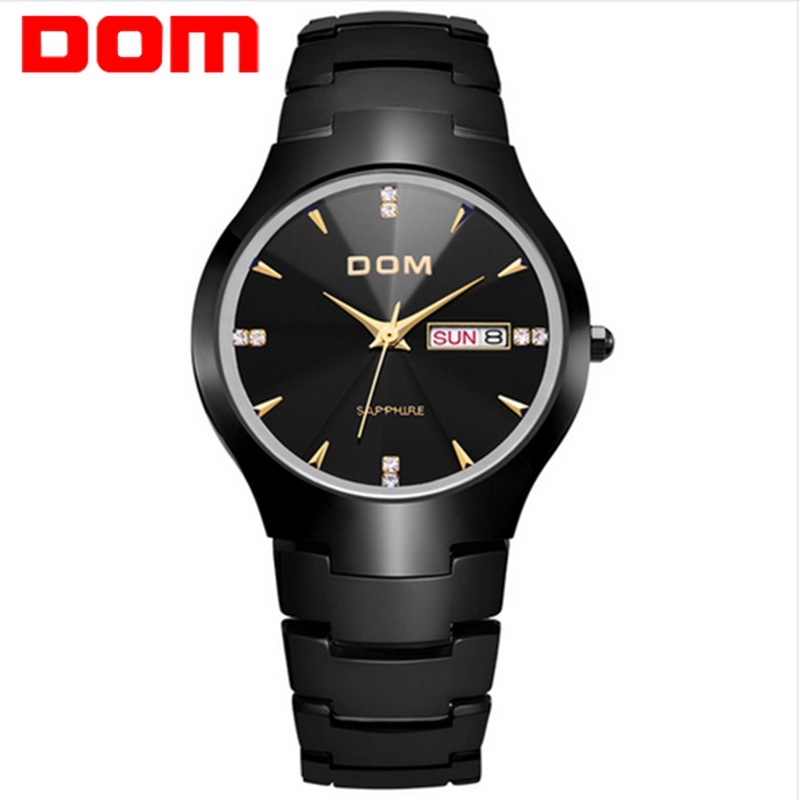 relogio masculino DOM Top Luxury Brand Fashion Men Watch Sport Tungsten Steel Waterproof Business Quartz WristWatch Male Clock luxury men quartz watch fashion tungsten band watch 50 meter waterproof gift casual clock male wristwatch clock relogio with box