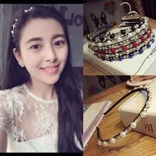 Korea Full Pearl Diamond Hairbands Handmade High Quality Hair Accessories For Girls Bows  Band Colorful Headbands Women