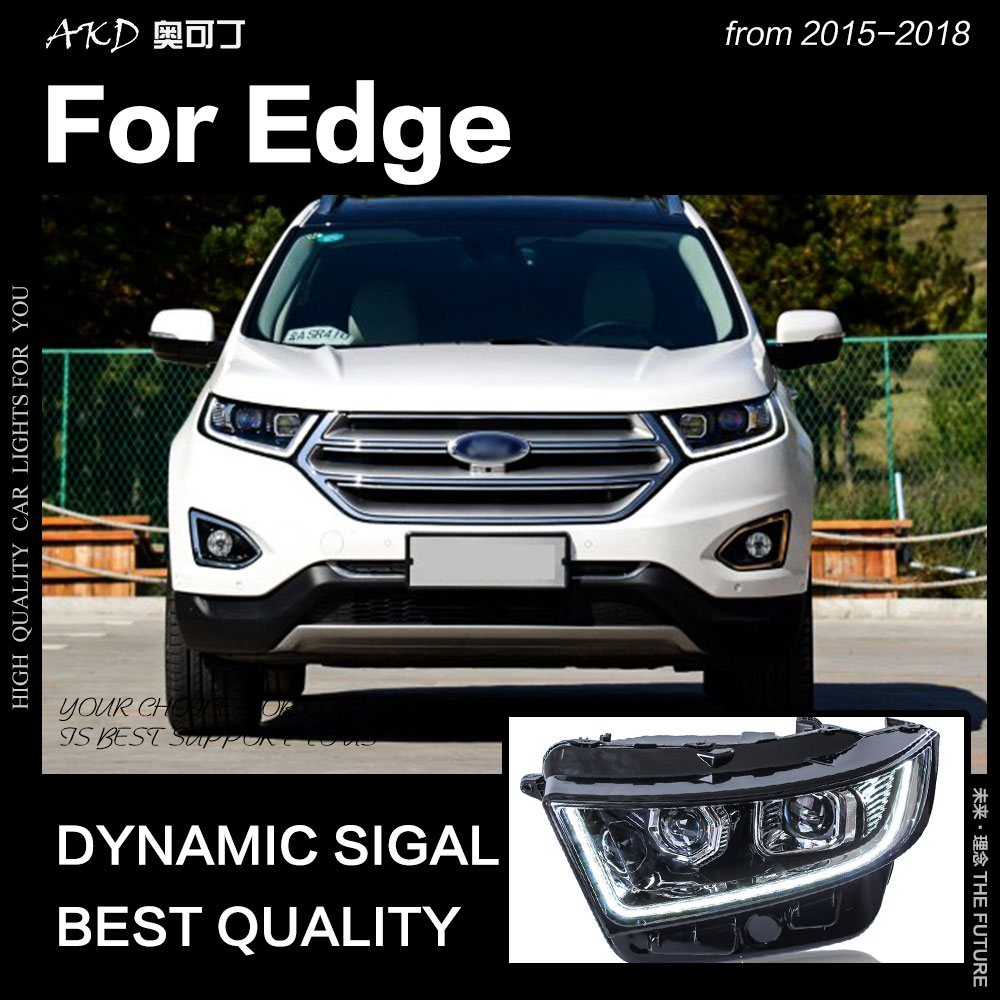 Akd Car Styling For Ford Edge Headlights   New Edge Led Headlight Drl Hid Head Lamp Angel Eye Bi Xenon Beam Accessories In Car Light Assembly From