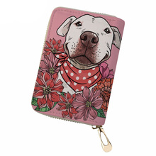 NOISYDESIGNS Women Credit Card Holder PU Leather Pit Bull Terrier Print ID Ladies Business Organizer