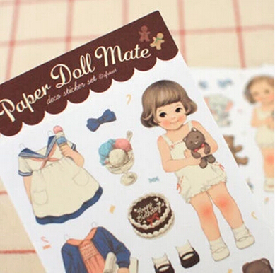(6 sheets/pack. 2 packs/lot) Afrocat Paper Doll Mate Deco Sticker Set/ Diy Dairy Stickers/ Decoration lovely girl - The Postcard Store store
