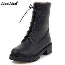 Aicciaizzi Размеры 34–43 Для женщин до середины голени на высоком каблуке Сапоги и ботинки для девочек Для женщин с перекрестными ремешками с толстой Мех зимние ботинки теплые сапожки для женская обувь