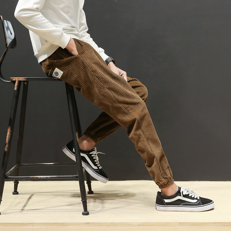 2017 new Arrive Autumn Winter Baggy Men Pants Hight Quality Corduroy Loose Haren Pants Fashion Solid Color Men Trousers