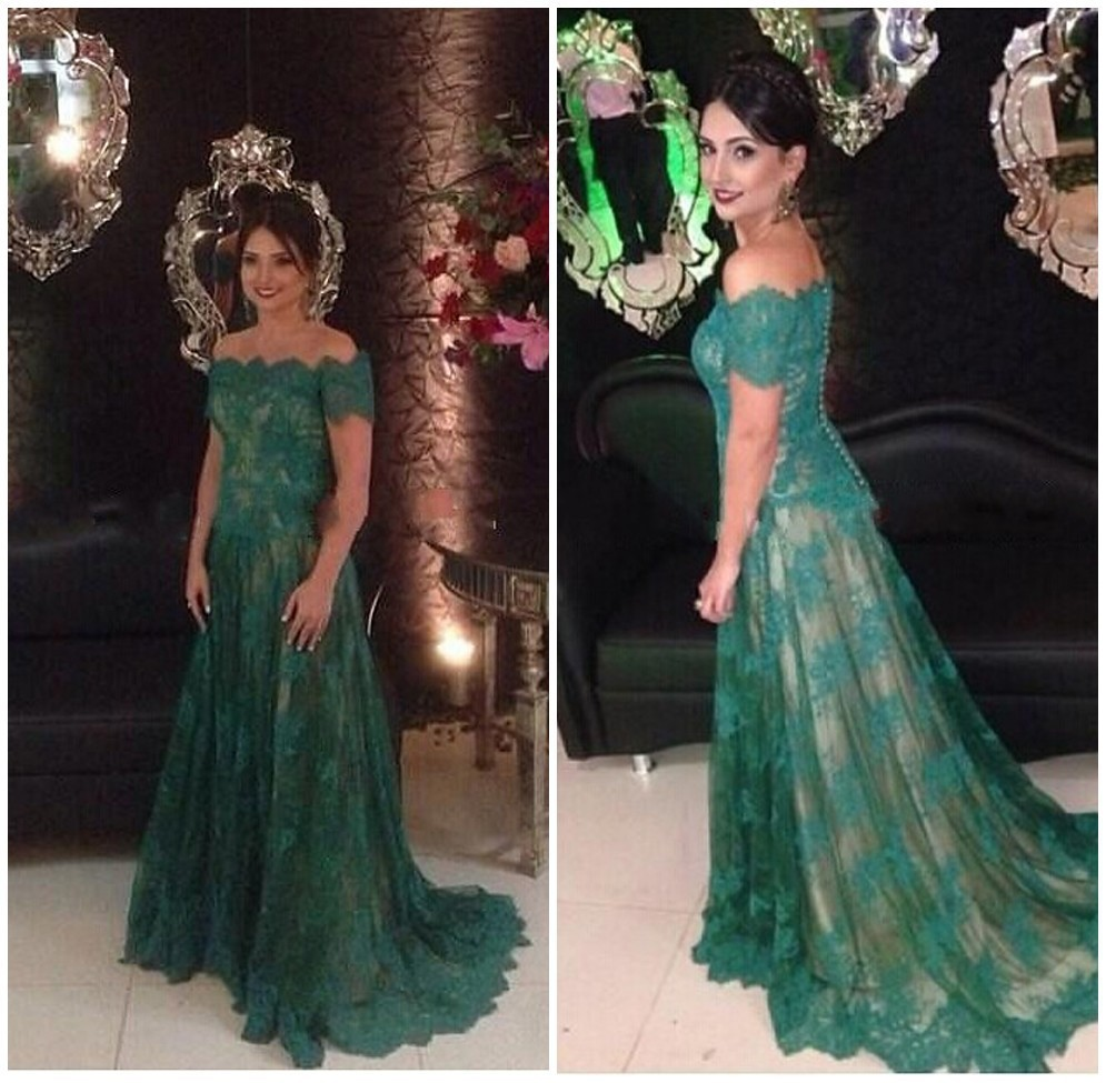 ebc041253b Elegant Off The Shoulder Dark Green Lace Evening Dress With Sleeves Long  Robe De Soiree Formal Evening Gowns-in Prom Dresses from Weddings   Events  on ...