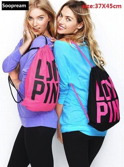 Vs любовь розовый мужчины сумка рюкзак 3D печати путешествия Softback женщины Mochila Drawstring Tote девочек Harajuku хлопок рюкзаки