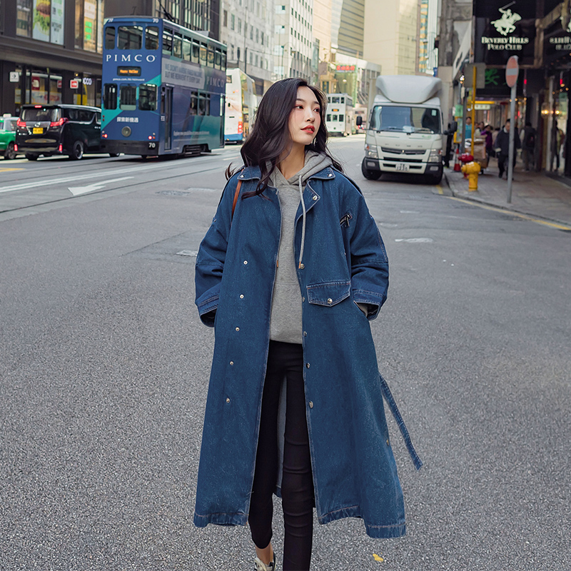 Fashion Denim   Trench   Coat For Women 2019 New Arrival Spring Long Coats Womens Jean Overcoat Windbreaker With Belt Loose Fit