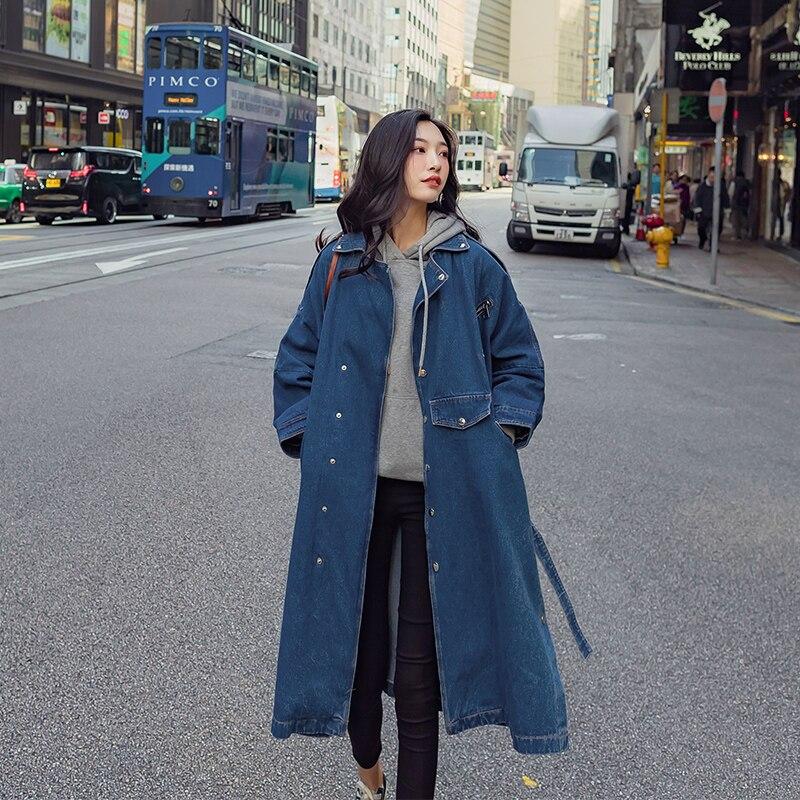 Lâche Femmes Fit Avec Nouveauté Longs Manteaux coat 2019 vent Blue Mode Printemps Jean Coupe Denim Trench Pour Ceinture Pardessus wBqnaHI