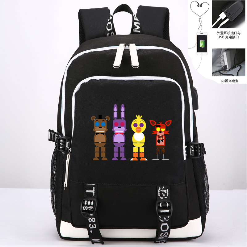 Five Nights At Freddy's Freddy Backpack Man Chica Foxy Bonnie FNAF Laptop Shoulder School Bag Travel Bag With USB Port Charging лак для ногтей orly pin up collection 90 цвет 090 va va voom variant hex name ed0d69