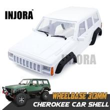 Caixa de plástico rígido ninja 12.3 polegadas 313mm, base de rodas cherokee para 1/10 rc crawler axial scx10 & scx10 ii 90046 90047