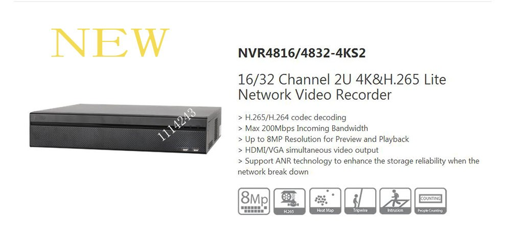 DAHUA 16 32 Channel 2U 4K H 265 Lite Network Video Recorder Without Logo NVR4816 4KS2