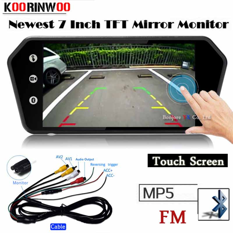 Koorinwoo автомобильный 7-дюймовый bluetooth TFT LCD цветной зеркальный монитор видео MP5 плеер дистанционное управление Автомобильная камера заднего в...