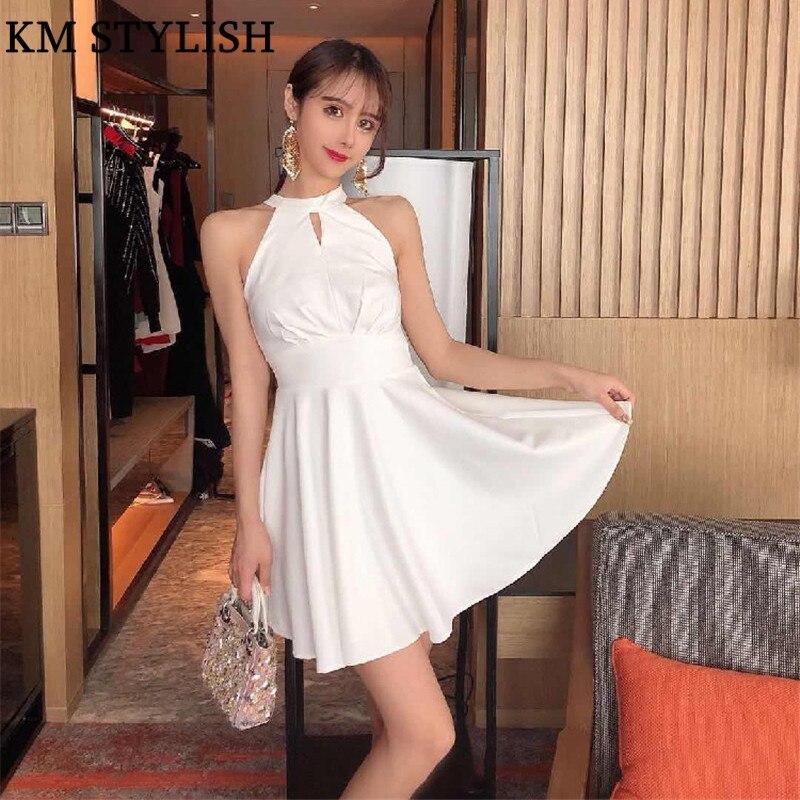 2019 Europe et les états-unis nouveau élégant Banquet des femmes blanc licou cou courte robe Slim dame partie rose robe noire